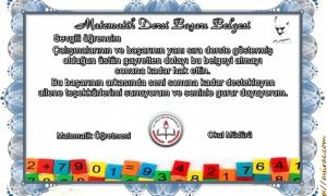 Öğrenciye Verilebilecek Matematik Başarı Belgeleri